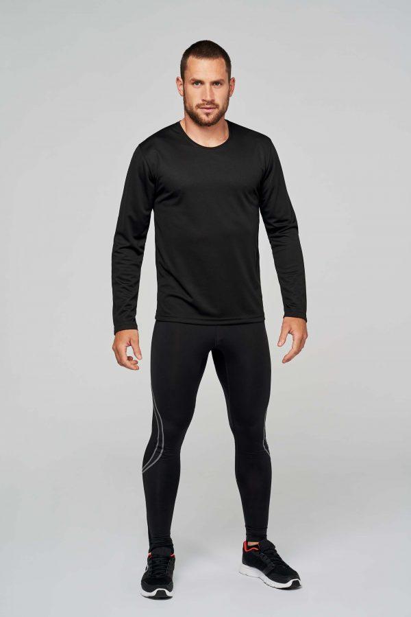 Sportshirt Bedrukken Lange MoProductfoto sportshirt lange mouwen bedrukkenuwen Heren Zwart