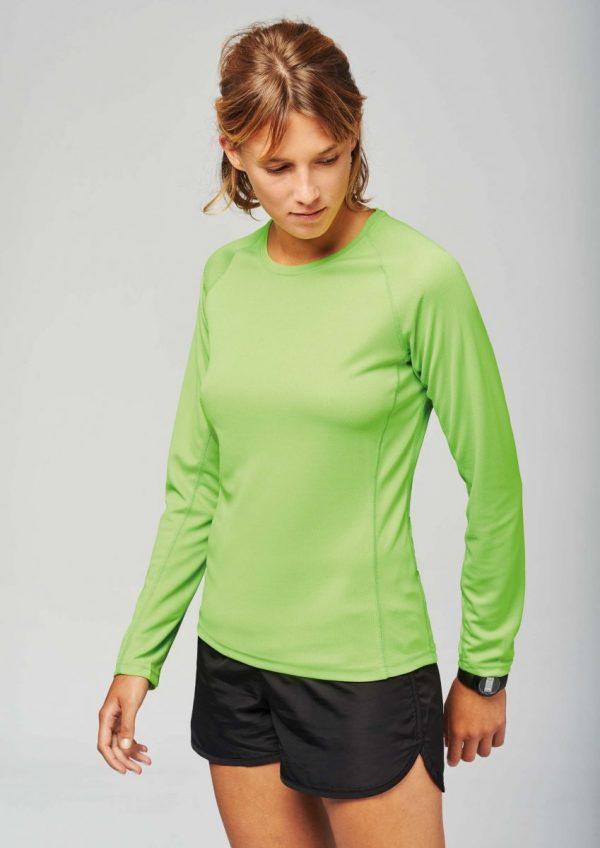 sportshirt lange mouwen dames groen